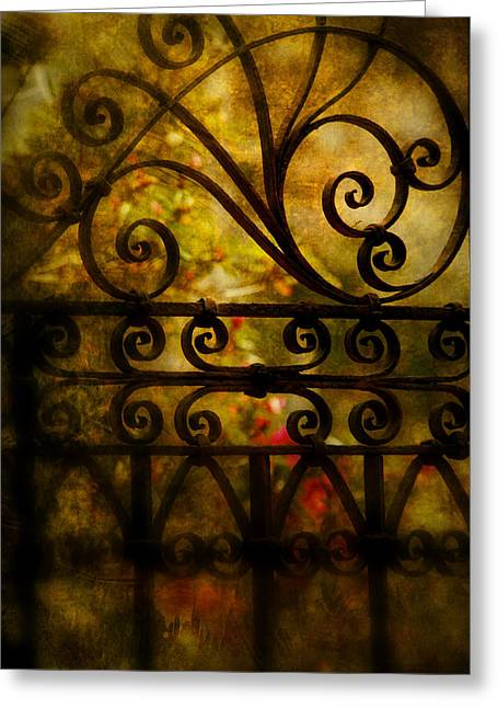Antic Greeting Cards - Open Iron Gate Greeting Card by Susanne Van Hulst