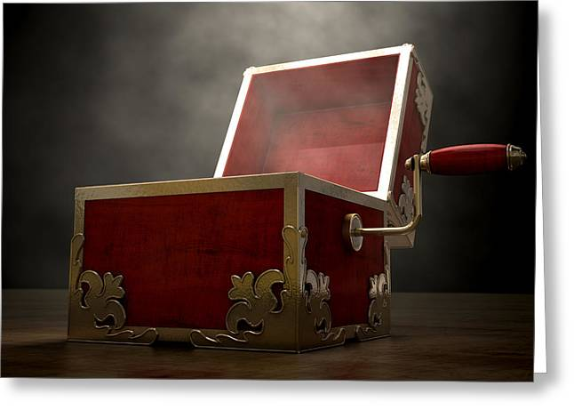Backlit Greeting Cards - Open Jack-In-The-Box Antique Greeting Card by Allan Swart