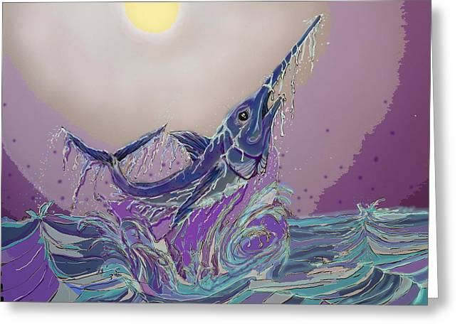 Swordfish Greeting Cards - Open Ocean Billing Greeting Card by Mike Moss