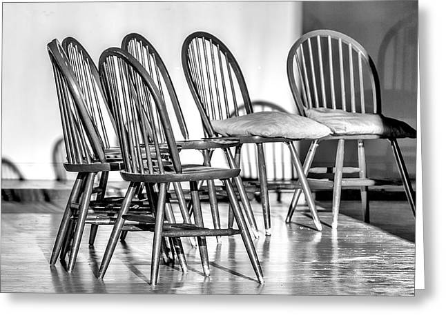Empty Chairs Greeting Cards - Open Seating Greeting Card by John Haldane