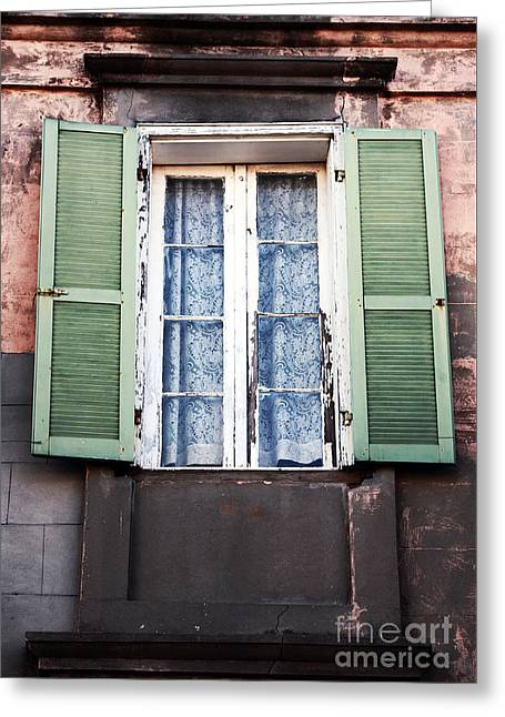 French Open Greeting Cards - Open Shutters Greeting Card by John Rizzuto