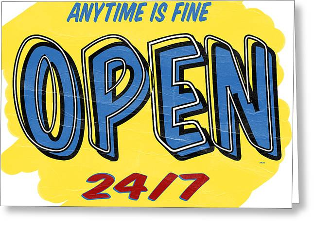 Open Market Greeting Cards - Open Sign Greeting Card by Edward Fielding