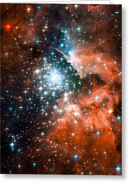 Open Star Cluster And Nebula Ngc 3603 Greeting Card by Space Art Pictures