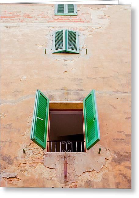 Open The Windows In Montepulciano Greeting Card by Ariane Moshayedi