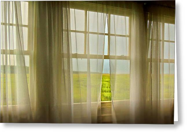Shower Curtain Greeting Cards - Open Window Breeze Greeting Card by Laura Ragland