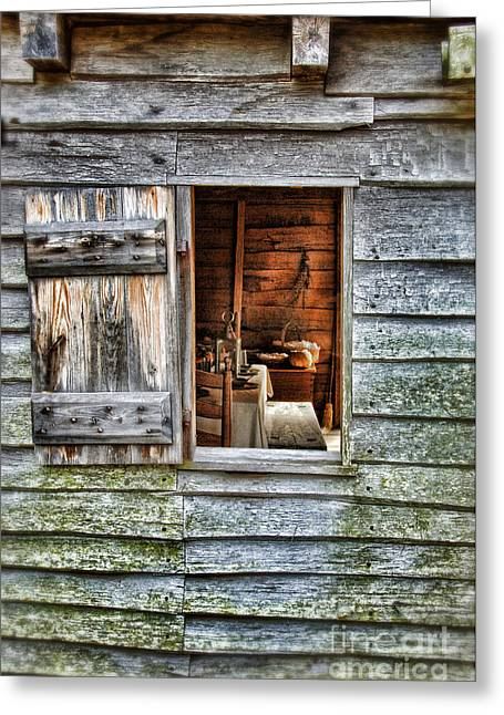 Open Window In Pioneer Home Greeting Card by Jill Battaglia
