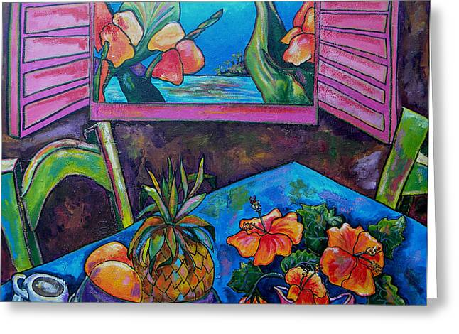 Tropical Beach Greeting Cards - Open Window Greeting Card by Patti Schermerhorn