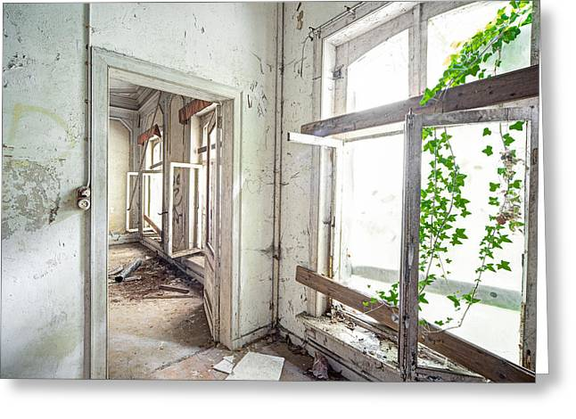 Abandoned Houses Greeting Cards - Open Windows Light - Urban Exploration Greeting Card by Dirk Ercken