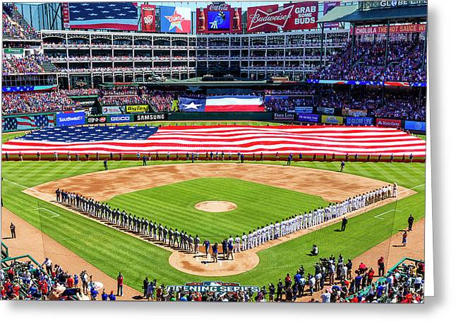 Opening Day At Globe Life Park Greeting Card by Stephen Stookey