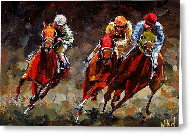 Race Horse Greeting Cards - Opening Day Greeting Card by Debra Hurd
