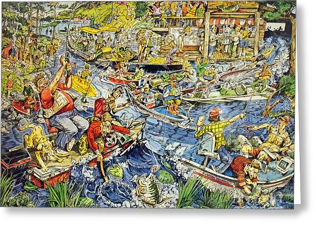 Search Drawings Greeting Cards - Opening Day of Fishing Greeting Card by Jack G  Brauer