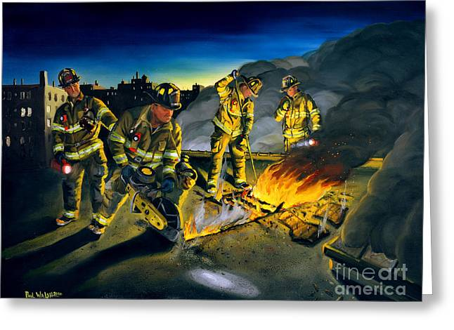 Firefighter Greeting Cards - Opening Up Greeting Card by Paul Walsh