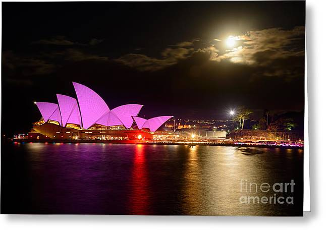Opera House - Pretty In Pink - Vivid Sydney By Kaye Menner Greeting Card by Kaye Menner