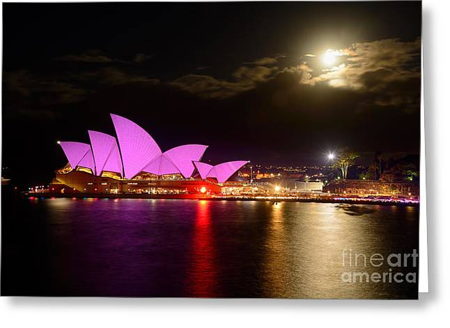 Reflection In Water Greeting Cards - Opera House - Pretty in Pink - VIVID SYDNEY by Kaye Menner Greeting Card by Kaye Menner