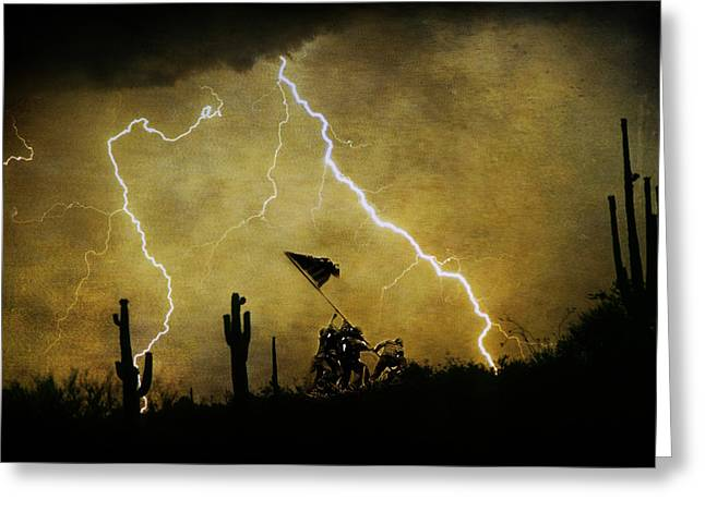Photography Lightning Digital Art Greeting Cards - Operation Desert Storm - Greeting Card by James BO  Insogna