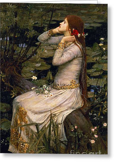 Girl Profile Greeting Cards - Ophelia Greeting Card by John William Waterhouse