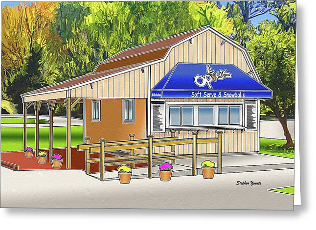 Catonsville Greeting Cards - Opies Snowball Stand Greeting Card by Stephen Younts