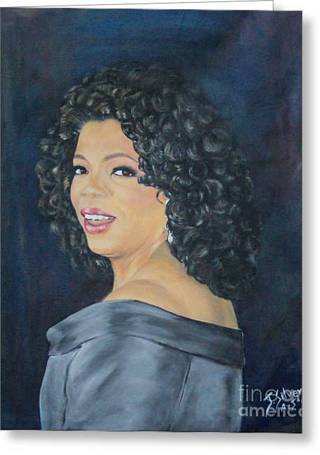 President Obama Greeting Cards - Oprah Winfrey Greeting Card by Jeanne Silver