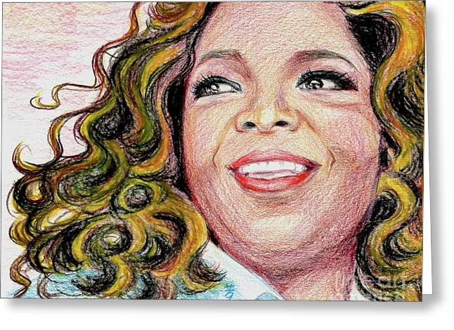 African American Diet Greeting Cards - Oprah Winfrey Greeting Card by Yoshiko Mishina