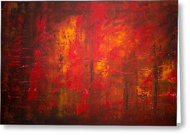 Abstract Expressionist Greeting Cards - Opt.47.15 Forest Fire Greeting Card by Derek Kaplan