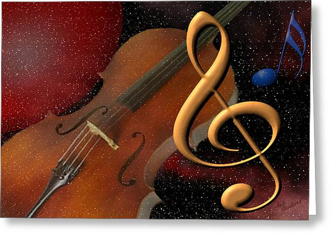 Clef Greeting Cards - Opus for the Final Frontier Greeting Card by Judi Quelland
