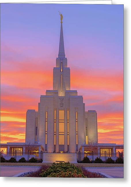 Oquirrh Mountain Temple IIi Greeting Card by Chad Dutson