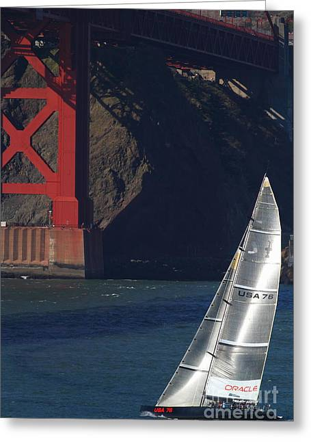 San Francisco Bay Bridge Greeting Cards - Oracle Racing Team USA 76 International Americas Cup Sailboat . 7D8071 Greeting Card by Wingsdomain Art and Photography
