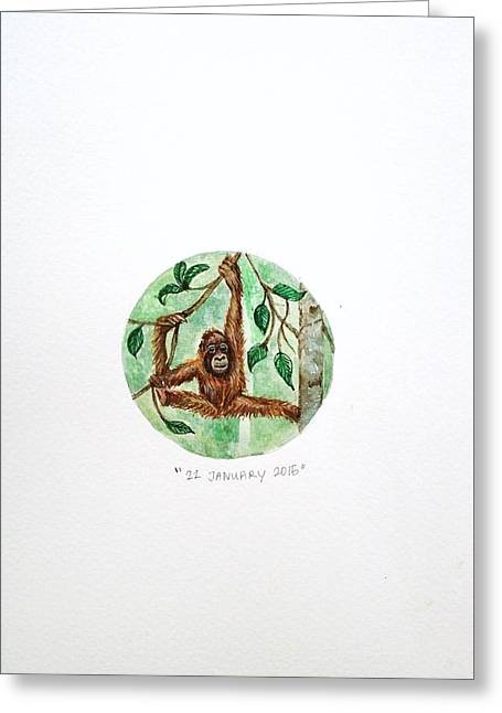 Orang-utans Greeting Cards - Orang utan  Greeting Card by Venie Tee