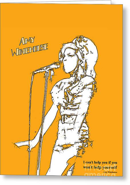 Live Music Mixed Media Greeting Cards - Orange Amy Greeting Card by Pablo Franchi