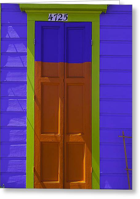 Orange And Blue Door Greeting Card by Garry Gay