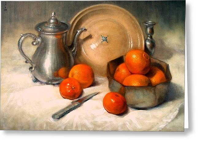 Tangerine Greeting Cards - Orange and Gray Greeting Card by Donelli  DiMaria
