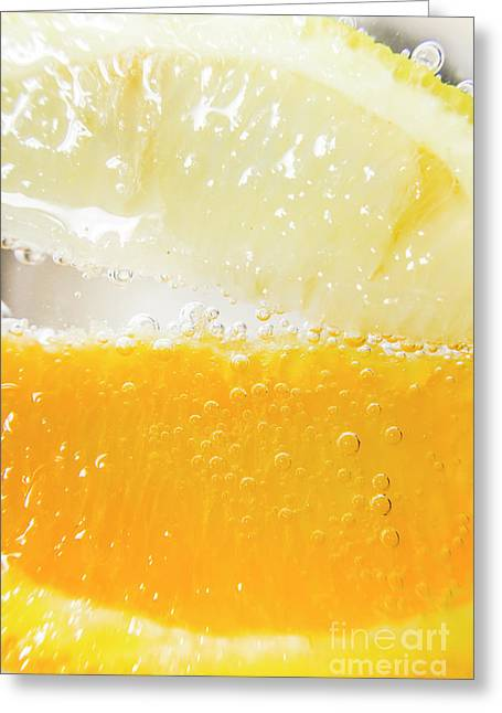 Orange And Lemon In Cocktail Glass Greeting Card by Jorgo Photography - Wall Art Gallery