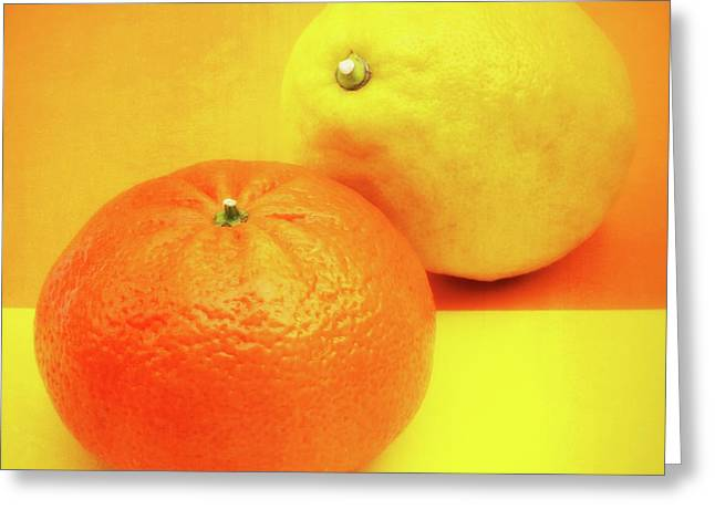 Signed Photographs Greeting Cards - Orange and Lemon Greeting Card by Wim Lanclus