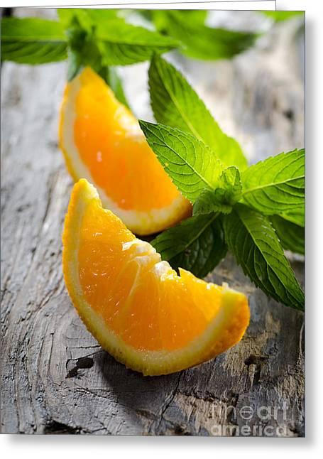 Orange And Mint Greeting Card by Jelena Jovanovic