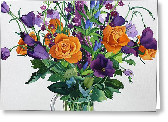 Green Glass Greeting Cards - Orange and Purple Flowers Greeting Card by Christopher Ryland