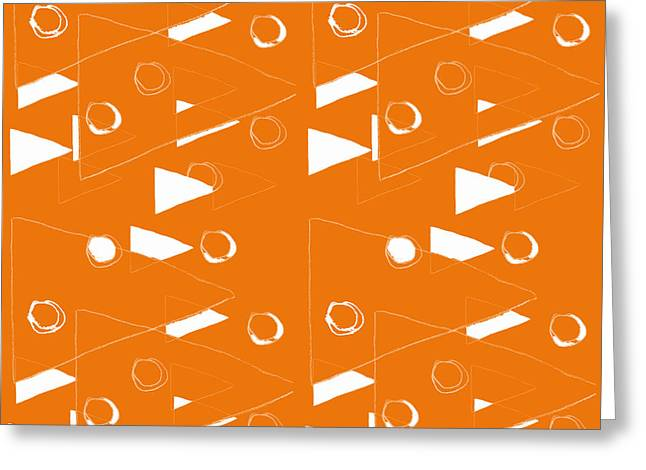 Orange And White Triangles Greeting Card by Linda Woods