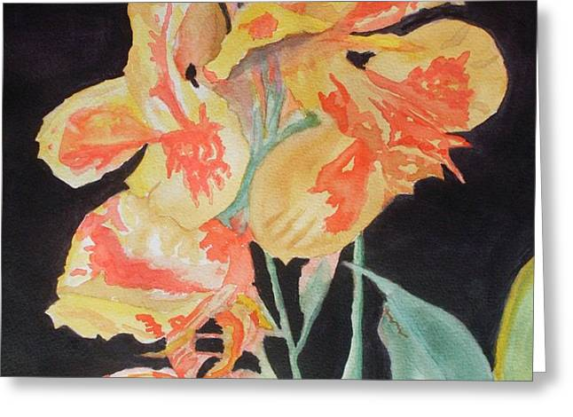 Orange And Yellow Canna Lily on Black Greeting Card by Warren Thompson