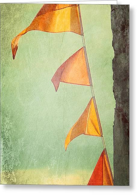 Tangerine Greeting Cards - Orange Banners Greeting Card by Valerie Reeves