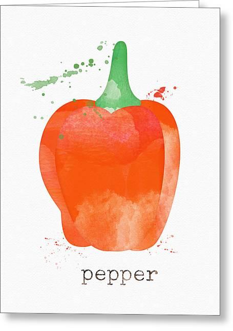 Farmers Market Greeting Cards - Orange Bell Pepper  Greeting Card by Linda Woods