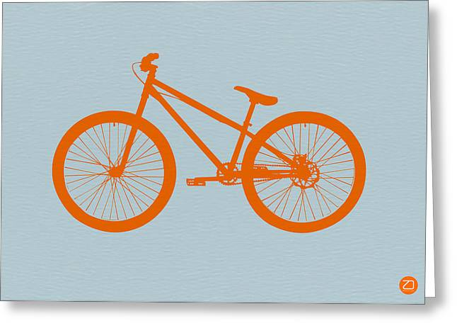 Kid Greeting Cards - Orange Bicycle  Greeting Card by Naxart Studio
