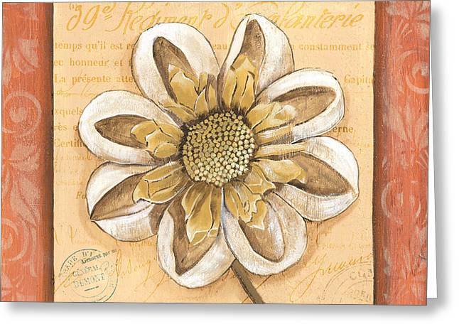 Postmarks Greeting Cards - Orange Bohemian Dahlia 2 Greeting Card by Debbie DeWitt