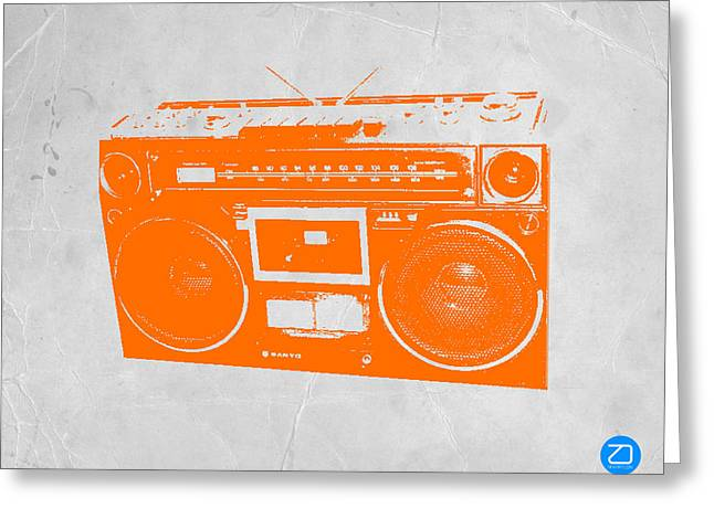 Tape Greeting Cards - Orange boombox Greeting Card by Naxart Studio