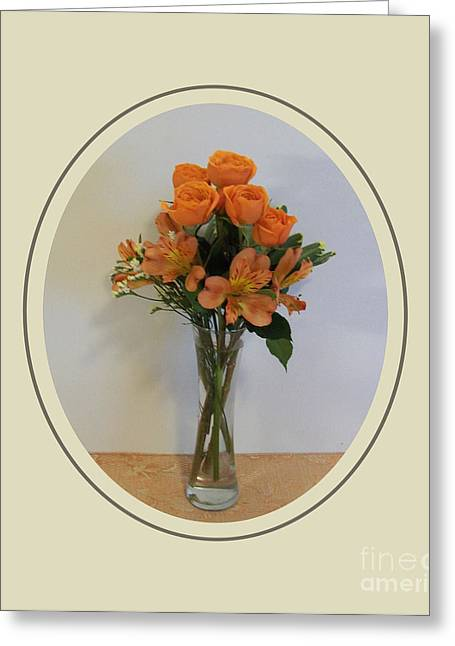 Glass Vase Greeting Cards - Orange Bouquet Of Roses Greeting Card by Marsha Heiken