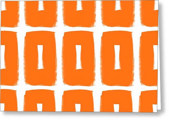Orange Boxes- Art By Linda Woods Greeting Card by Linda Woods