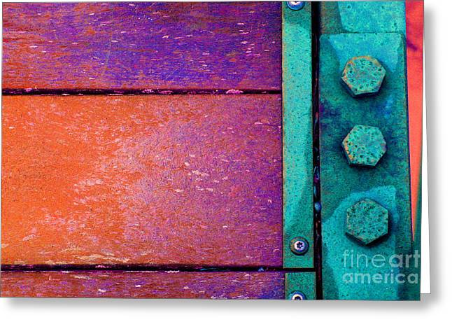 Component Digital Art Greeting Cards - Orange Bridge Bolts Greeting Card by Karen Adams