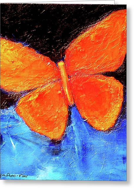 Orange Butterfly Greeting Card by Noga Ami-rav
