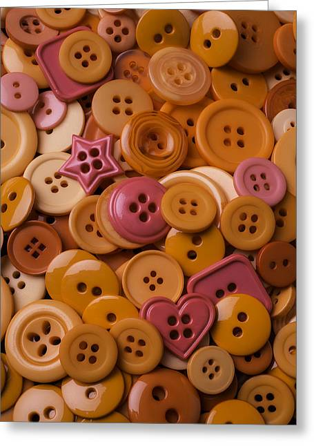 Mend Greeting Cards - Orange Buttons Greeting Card by Garry Gay