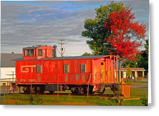 Orange Caboose Greeting Card by Michael Durst