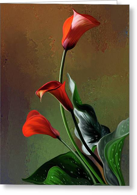 Calla Lily Digital Greeting Cards - Orange Calla lily Greeting Card by Thanh Thuy Nguyen