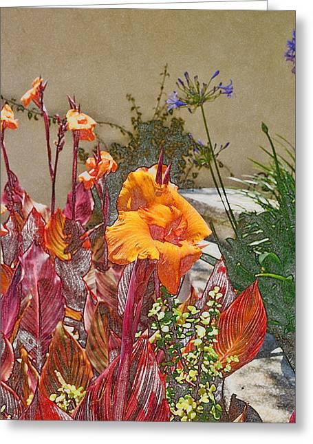 Orange Canna Lilies Digital I Greeting Card by Linda Brody